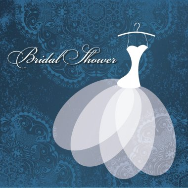 Beautiful invitation card with wedding dress on hanger