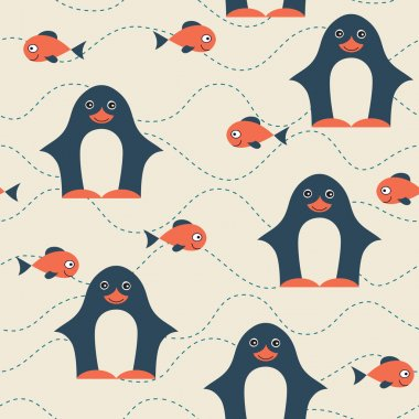 Penguin and fish seamless pattern.