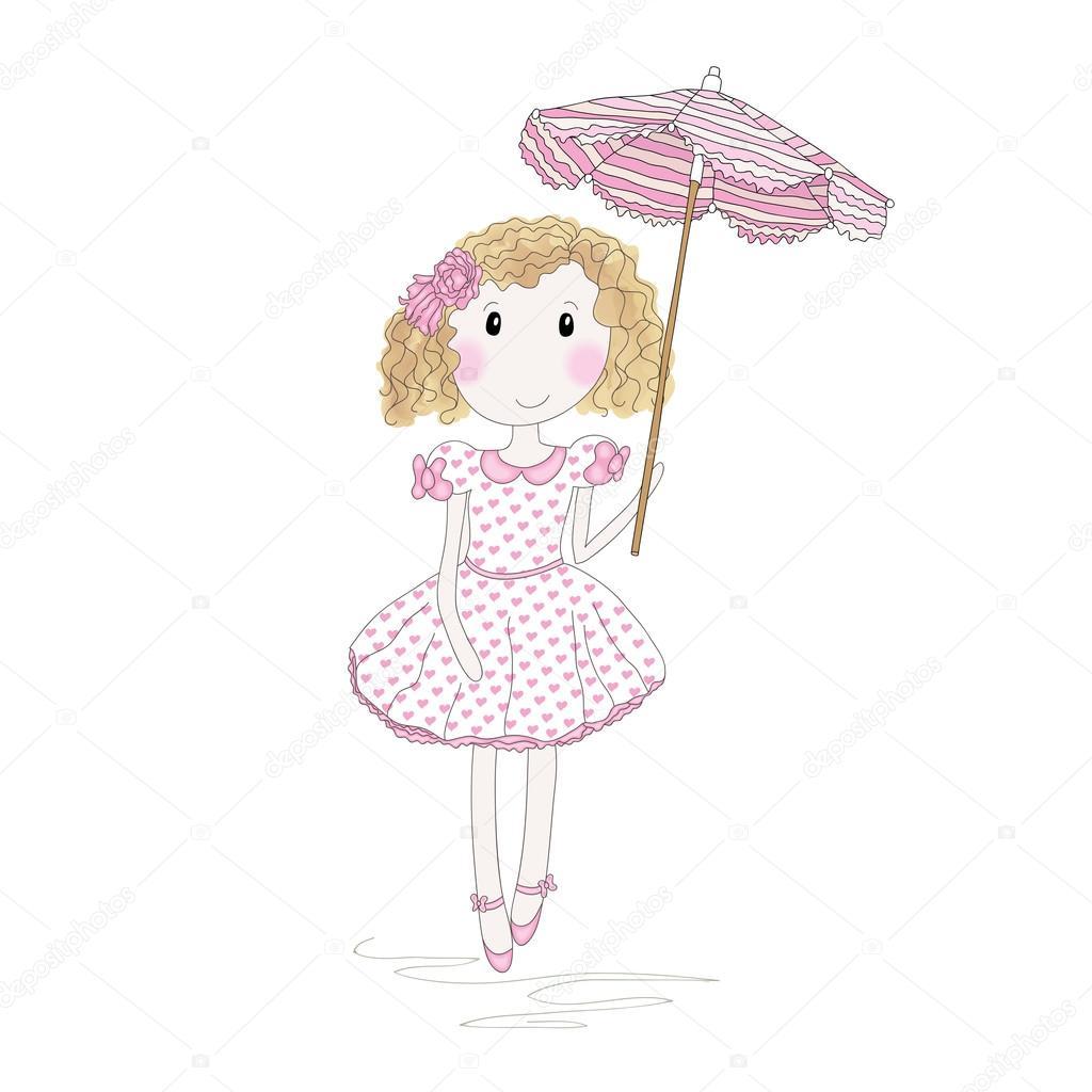 Jolie Petite Fille Avec Parapluie Image Vectorielle