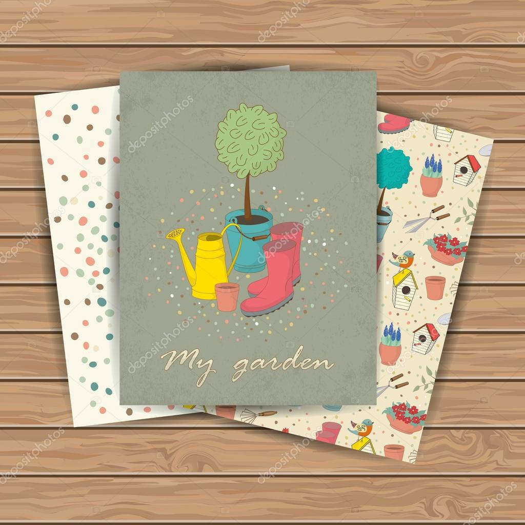 Decorative hand drawn cards with garden tools on wood plank ...