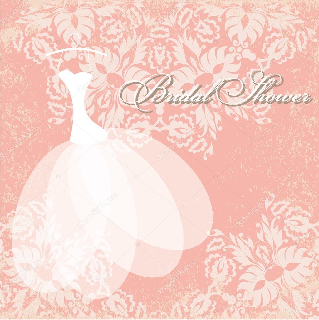 tarjeta de invitación hermoso vestido de novia en percha — Archivo ...