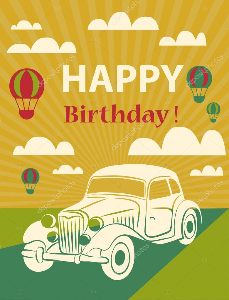 carte de joyeux anniversaire avec des ballons r tro de voiture et de l 39 air chaud image. Black Bedroom Furniture Sets. Home Design Ideas