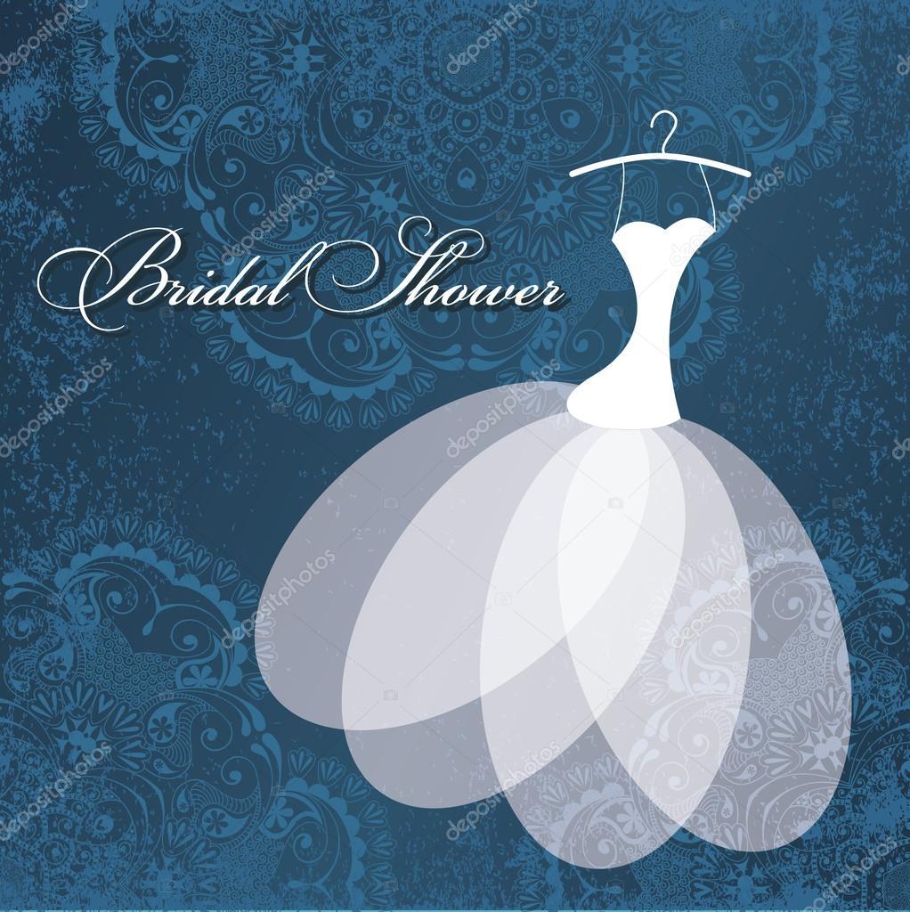 Beautiful invitation card with wedding dress on hanger — Stock ...