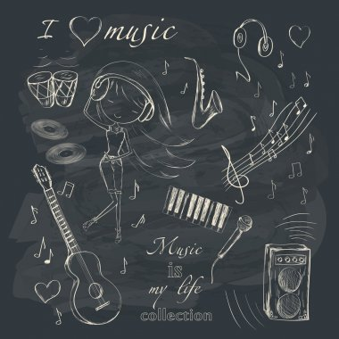 Hand drawn girl and music accessories
