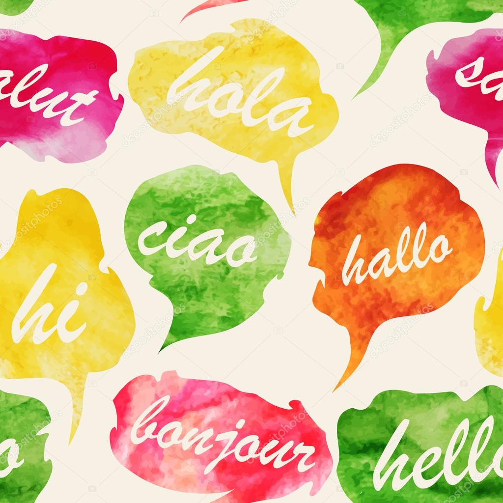 Greetings in different languages stock vector liddiebug 59901061 collection of colorful watercolor speech and thought bubbles with greetings in different languages vector illustration vector by liddiebug m4hsunfo