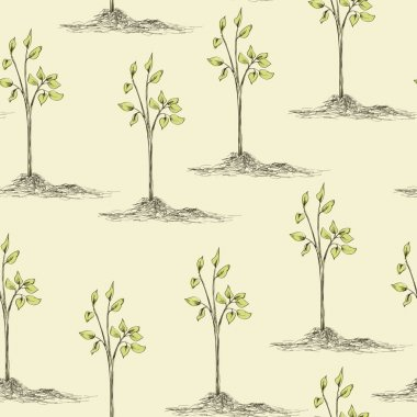 tree planting seamless pattern