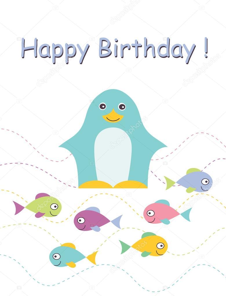 Happy birthday card with penguin.