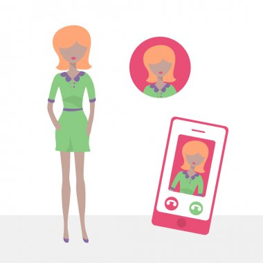 Female character icon in flat design style. Internet communication via smart phone. Vector illustration stock vector