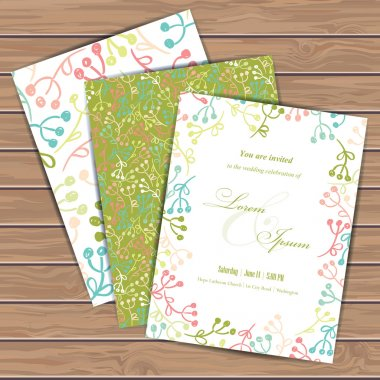 Greeting cards with floral elements on wood plank background. Place for your text. Use for invitations, announcement cards. Seamless pattern masked. Vector illustration. stock vector