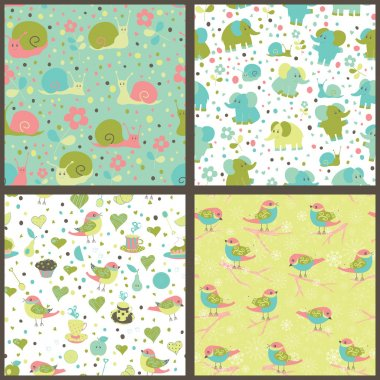 Set of seamless patterns with cartoon animals and sweets