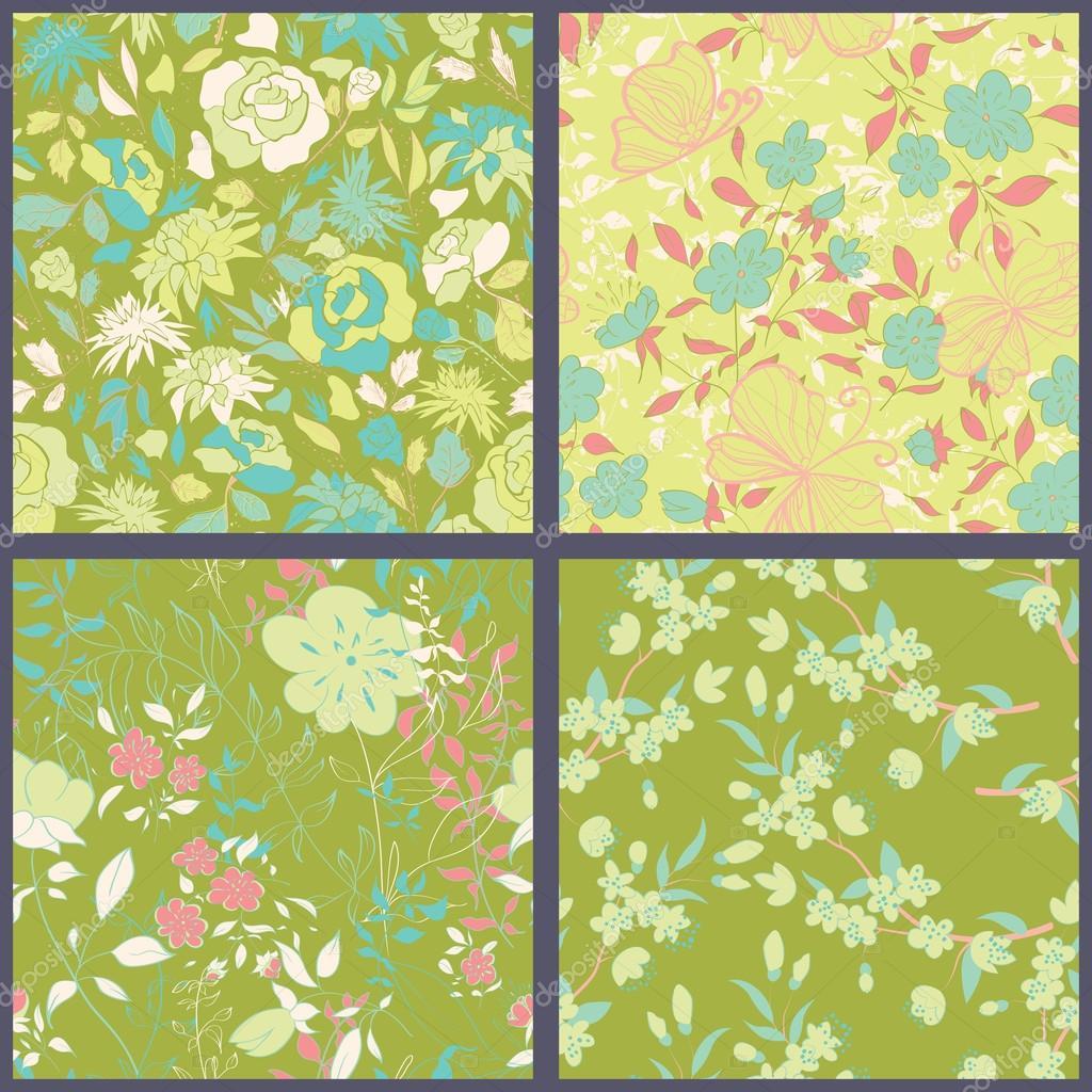 Set of floral seamles patterns.