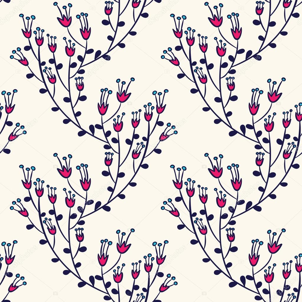 Seamless pattern with doodle flowers.