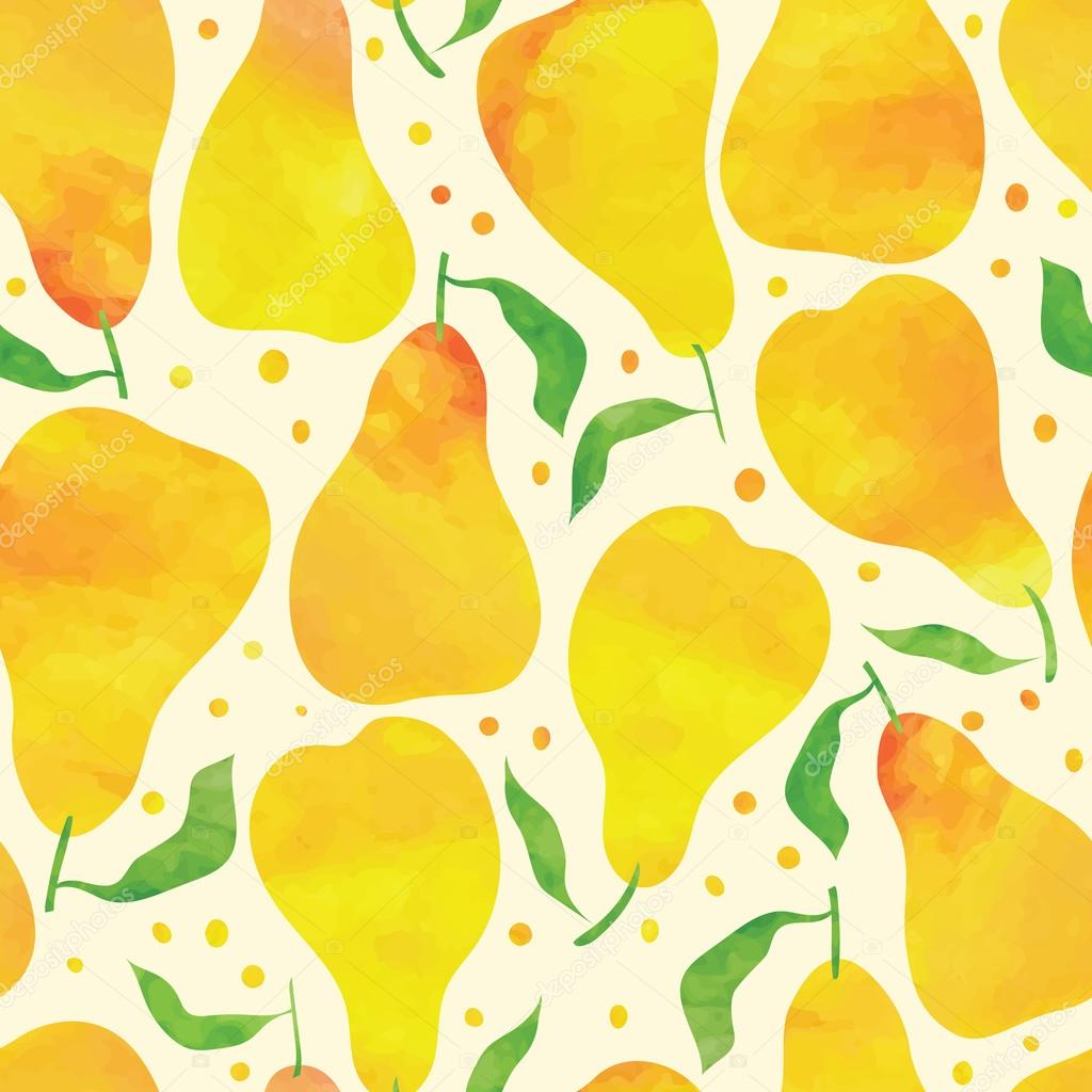 Seamless pattern with watercolor pears