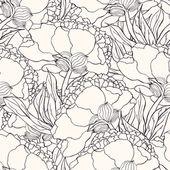 Bezešvé vzor s ručně kreslenou doodle květy