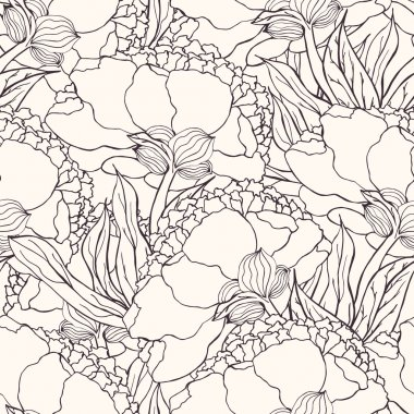 Seamless pattern with hand drawn doodle flowers