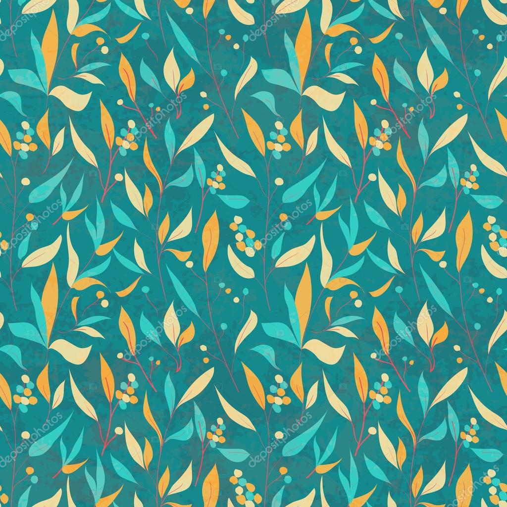 Seamless pattern with colorful leaves.