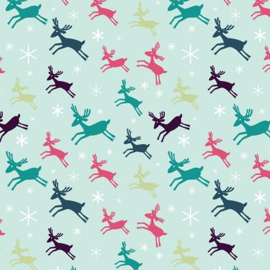 Seamless pattern with deers and snowflakes.  Winter Holiday design. Merry Christmas card design.  Hand drawn design for fabric, wrapping paper, greeting cards or invitation. Christmas decoration. Vector illustration. clip art vector