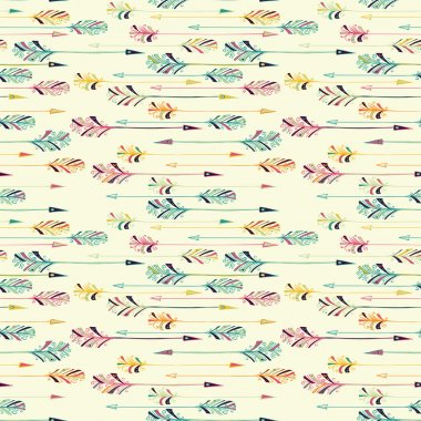 Feather arrow seamless pattern.