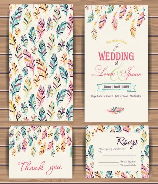 Greeting cards with feather