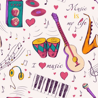 Seamless pattern with music instruments.