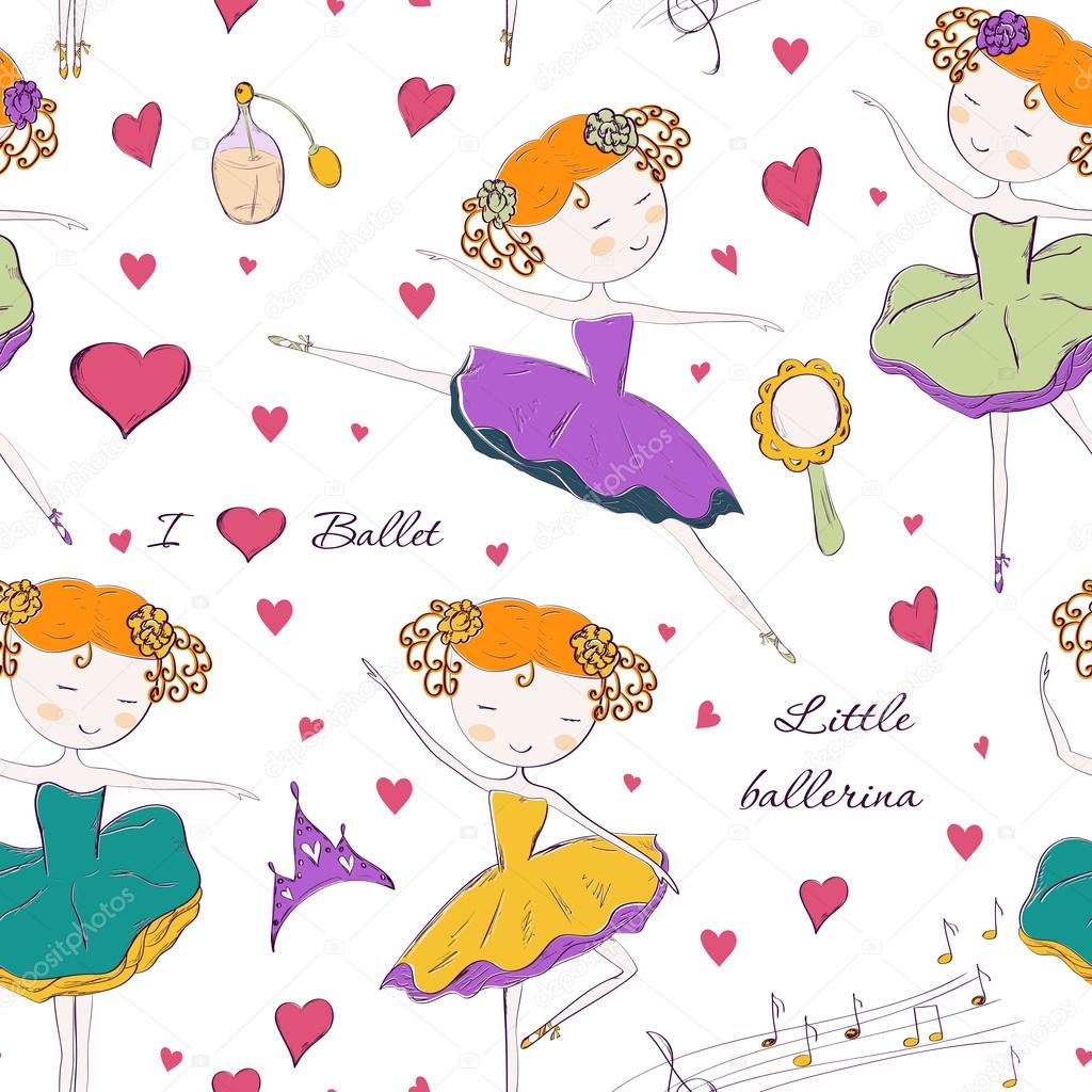 ballerina and accessories seamless pattern