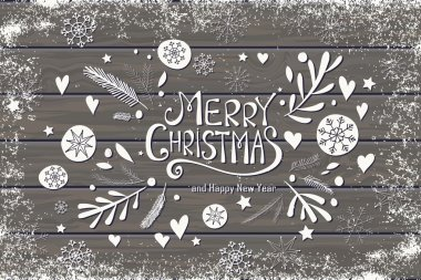 Greeting card with Merry Christmas hand lettering