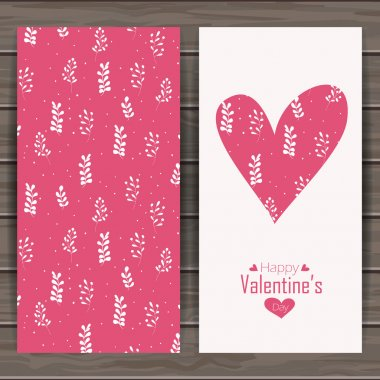 Happy valentines day card. Vintage  background with feathers. Seamless pattern is masked.  Wood plank vector background is in the separate layer clip art vector