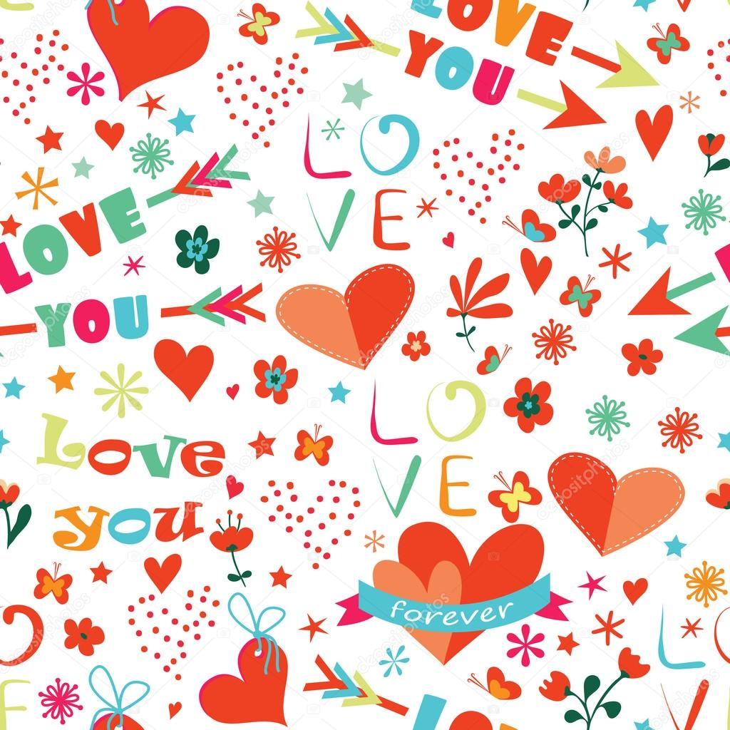 Happy Valentines Day floral seamless pattern