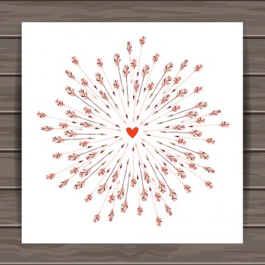 Happy Valentines day card with hand drawn Indian-American arrows and heart. Wood plank vector background is in the separate layer clip art vector