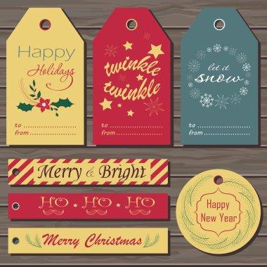 Christmas gift tags set.