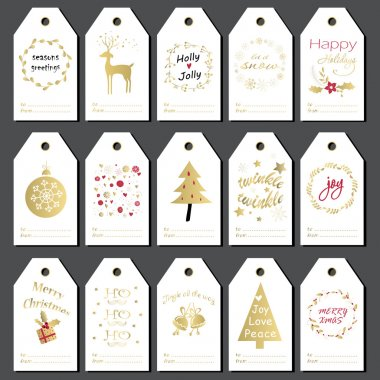 Christmas gift tags set.
