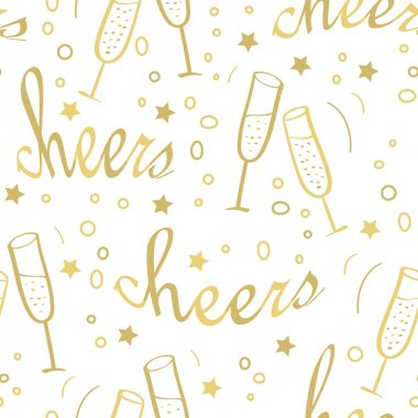 Christmas seamless background with champagne.