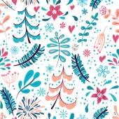 Photo Winter flowers and snowflakes seamless pattern