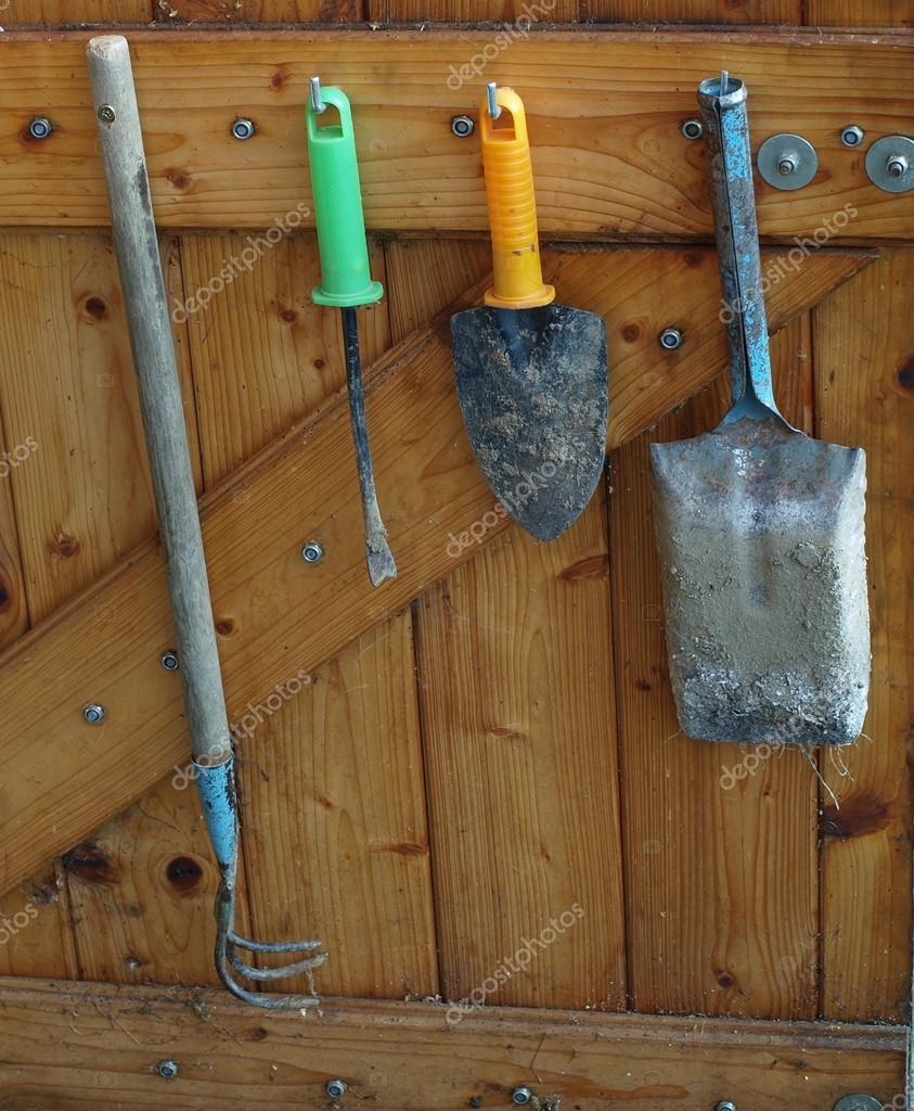 Old Garden Tools Hanging On A Wooden Wall, South Bohemia U2014 Stock Photo