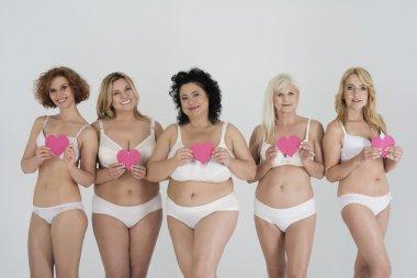 Group of women posing in underwear