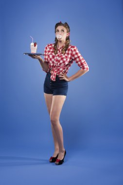 Pin up girl in the role of waitress
