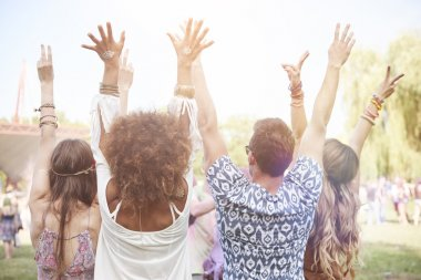 Friends at the music festival