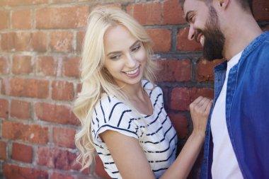 Blonde girl has fun with boyfriend