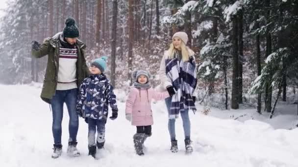 Handheld-Video von Familienspaziergängen im Winterwald. Aufnahme mit roter Heliumkamera in 8K.