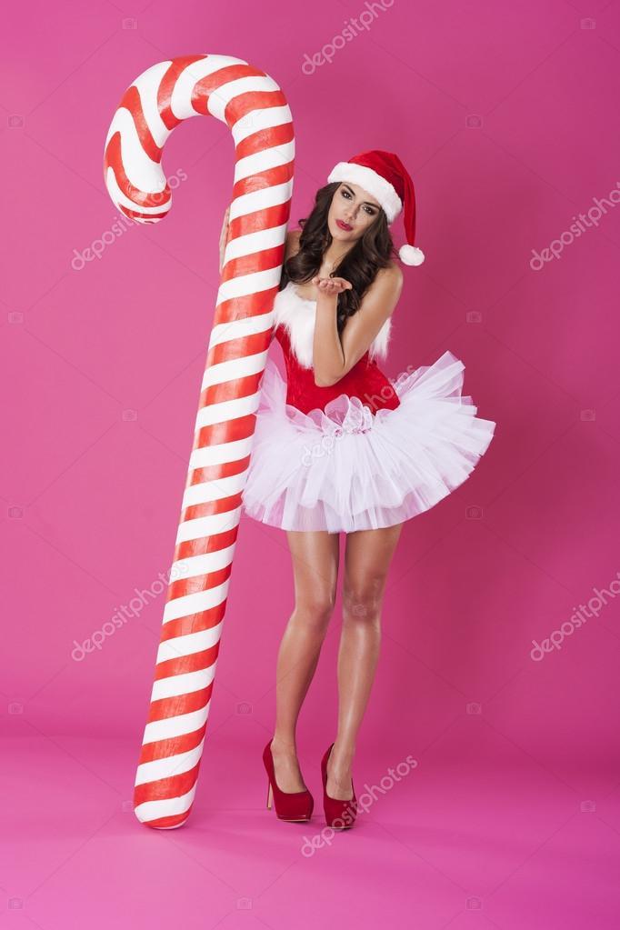 Sexy santa claus with christmas candy cane u2014 Stock Photo  sc 1 st  Depositphotos & Sexy santa claus with christmas candy cane u2014 Stock Photo ...