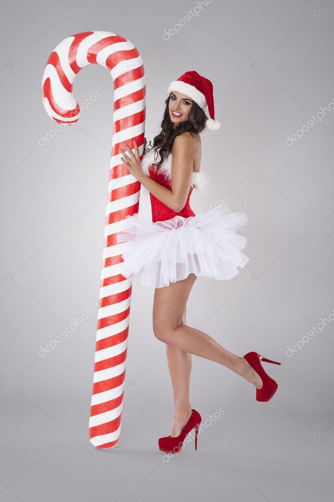 d4377f4b7 Sexy santa claus with christmas candy cane — Stock Photo ...