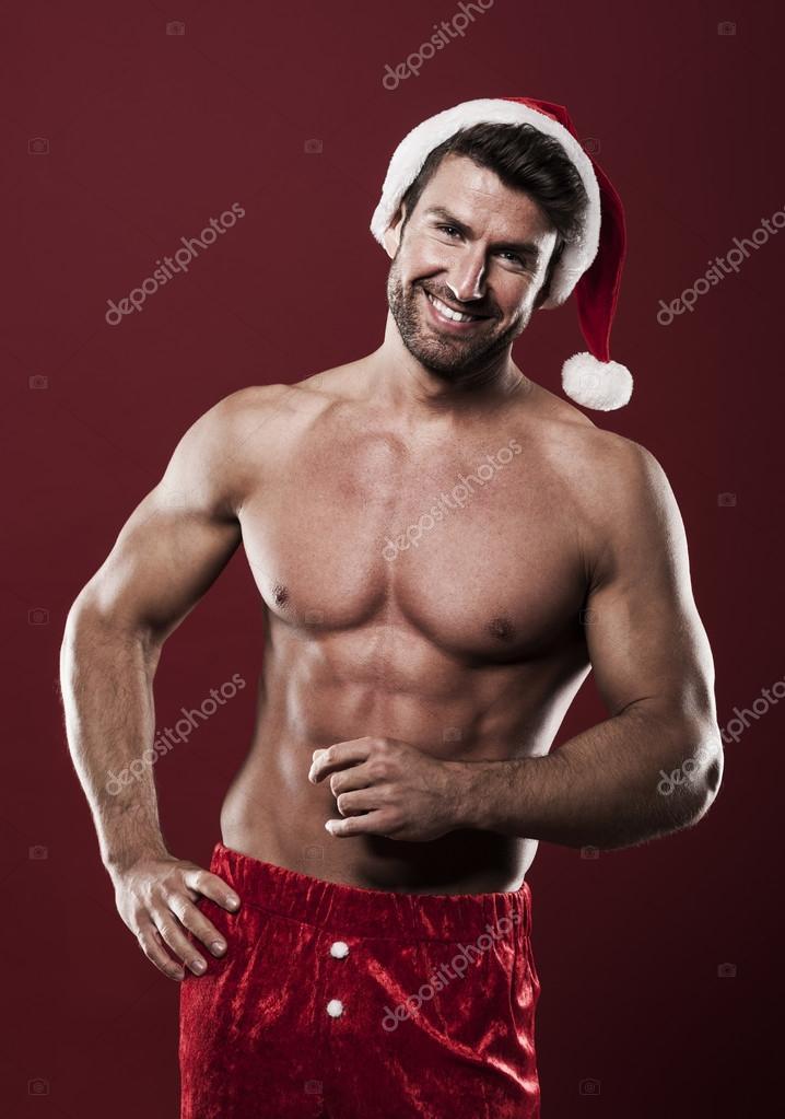 Babbo Natale Uomo Bello.Strong Santa Claus Man Stock Photo Image By C Gpointstudio 57293817