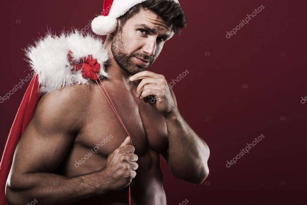 Babbo Natale Uomo Bello.Strong Santa Claus Man Stock Photo Image By C Gpointstudio 57293839