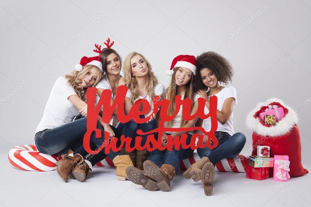 Teenage girls during the Christmas