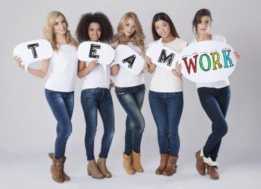 Women with Teamwork text