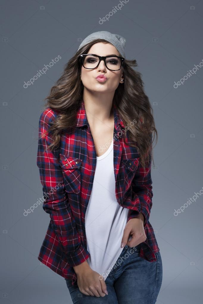 Kisses from hipster girl