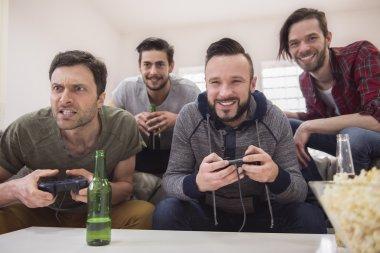 Men play video game