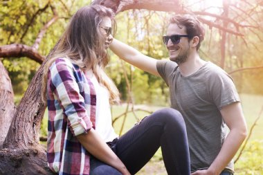 couple in love while date in park