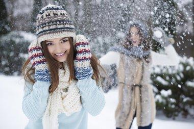 Happy girls having fun in winter