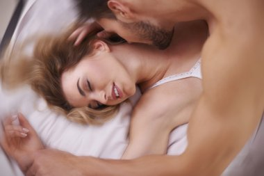 Lovers during a very intensive foreplay
